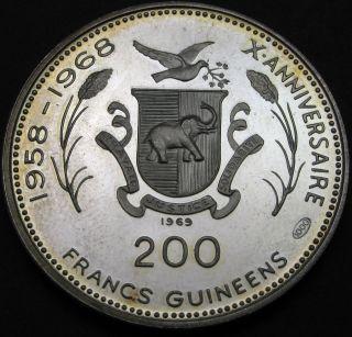 Guinea 200 Francs 1969 Proof - Silver - Almany Samory Toure - 1720 猫 photo