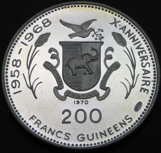 Guinea 200 Francs 1970 Proof - Silver - John,  Robert F.  Kennedy - 1719 猫 photo