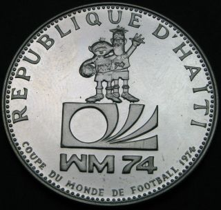 Haiti 25 Gourdes 1973 Proof - Silver - Soccer World Cup ' 74 - 1717 猫 photo