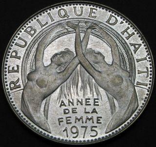 Haiti 25 Gourdes 1975 Proof - Silver - Intl.  Women ' S Year - 1718 猫 photo