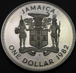 Jamaica 1 Dollar 1982 Proof - Prime Minister Bustamante - 1726 猫 photo