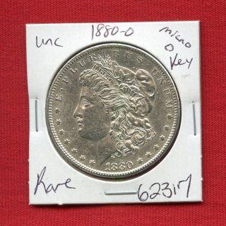 1880 Micro O Bu Unc Morgan Silver Dollar 62317 Ms,  Us Rare Key Date Estate photo