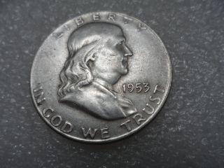 1953 - D Franklin Half Dollar Coin (vf) On Silver - Copper  One photo