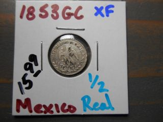 1853 Gc 1/2 Real Mexico /.  903 Silver -.  0491 Asw photo