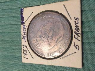 1837 5 Franc Silver Coin photo
