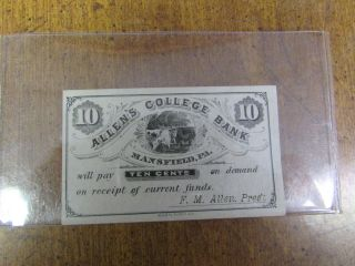 10 Cent Allen ' S College Bank Mansfield Pa Paper Money photo
