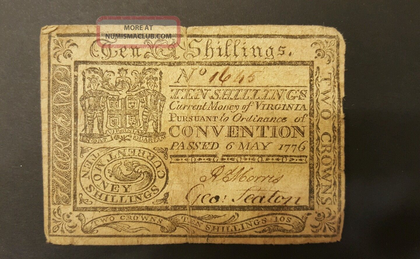 Extremely Rare 10 Shilling Virginia Colonial Note 6 May 1776 Paper Money: US photo