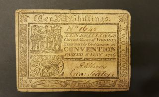 Extremely Rare 10 Shilling Virginia Colonial Note 6 May 1776 photo