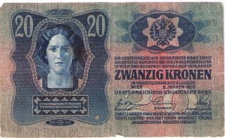 Banknote Vf Paper Money 20 Zwanzig Kronen Austria Hungary1913 photo
