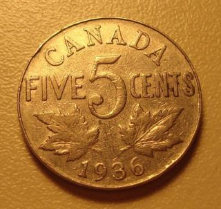 1936 Canada Five Cent Coin - Average Circulated - Our 1936 - 5 photo
