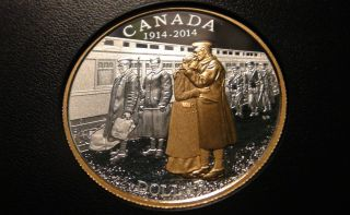 2014 Canada Gold Plated Silver Proof One Dollar Piece - World War 1 Anniv.  Coin photo
