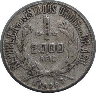 Brazil 2000 Reis 1928 Km 526 Silver Coin 75 photo
