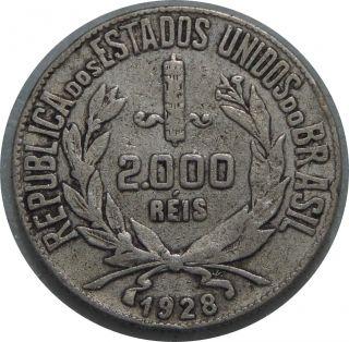 Brazil 2000 Reis 1929 Km 526 Silver Coin 101 photo
