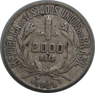 Brazil 2000 Reis 1924 Km 526 Silver Coin 81 photo