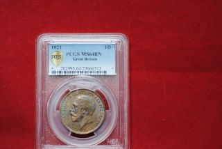 Great Britain 1921 1 Penny Ms 64 Bn Pcgs Secure.  Pretty photo