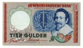 Netherlands … P - 85 … 10 Gulden … 1953 … Vf Thee Letters Ccq. photo