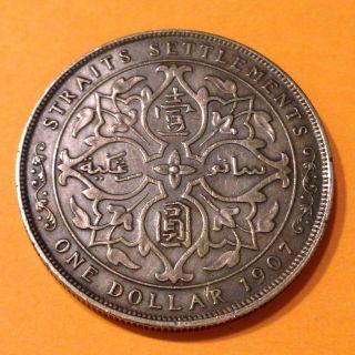 1907h,  Straits Settlements,  $1,  One Dollar,  British Silver Coin,  Au,  Km 26 photo