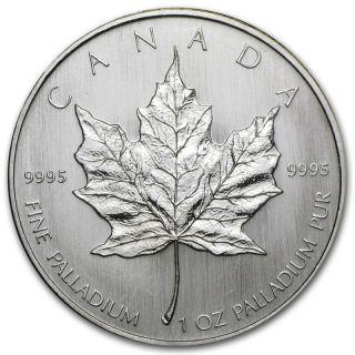 1 Oz Random Year Palladium (canada) Canadian Maple Leaf $50 Bu photo