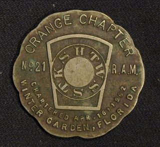 1962 Masonic Token Orange Chapter No.  21,  R.  A.  M.  Winter Garden Florida photo