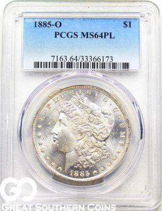 1885 - O Pcgs Morgan Silver Dollar,  Proof - Like,  Pcgs Ms 64 Pl photo