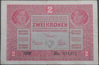 Austro - Hungary Kronen - 2 Zwei Kronen With Stamp - Year 1917 - War Series photo
