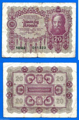 Austria 20 Kronen 1922 Oestereich Banknote photo