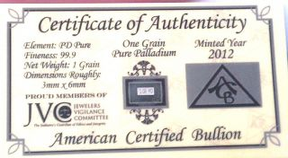Acb Solid Palladium Pd Bullion 1grain Bar 9.  99 With Certificate Of Authenticity photo