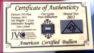 Acb Palladium 99.  9 Pure 1grain Bar.  For Precious Metal Bullion Pd photo
