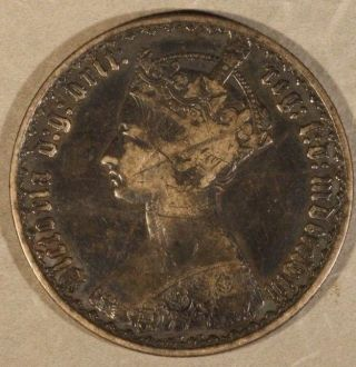 1858 Great Britain Florin Silver Gothic Circulated U.  S photo