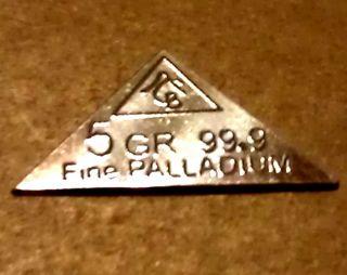 Acb 5grain Pyramid Palladium 99.  9 Pure Precious Metal Bullion Pd Bar Very Rare photo