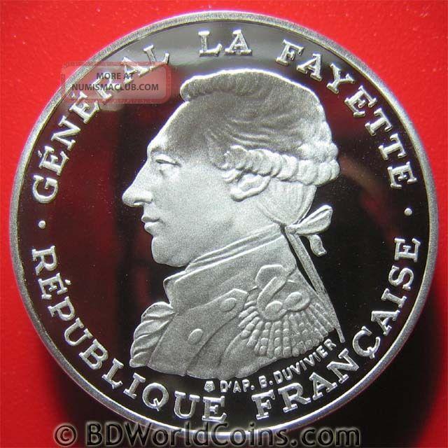 France 1987 100 Francs.  92oz Silver Proof Piedfort Piefort General Lafayette France photo