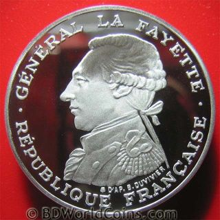 France 1987 100 Francs.  92oz Silver Proof Piedfort Piefort General Lafayette photo