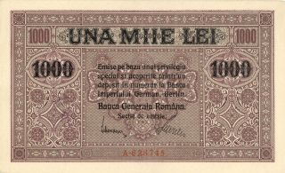 Romania German Occupation 1000 Lei Currency Banknote 1917 Au photo