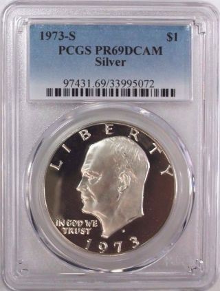 1973 - S Silver Eisenhower Ike Dollar Pcgs Pr69dcam photo