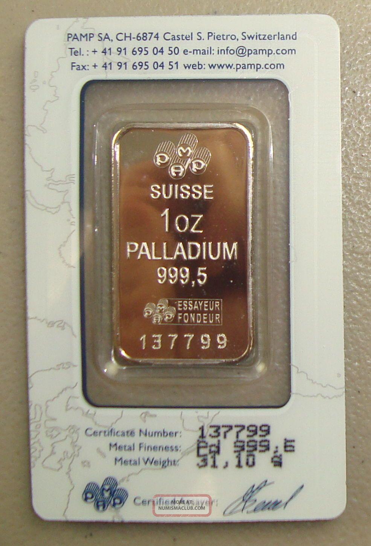 Pamp Suisse 1 Oz.  9995 Fine Palladium Bullion Bar Bullion photo