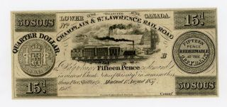 1837 25c / 15d / 30 Sous Champlain & St.  Lawrence Rail Road - Canada Note Au photo
