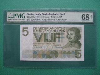 1966 Netherlands 5 Gulden Pmg 68 Epq Gem Unc