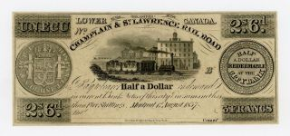 1837 50c / 2s.  6d.  / 3 Francs Champlain & St.  Lawrence Rail Road Canada Note Cu photo