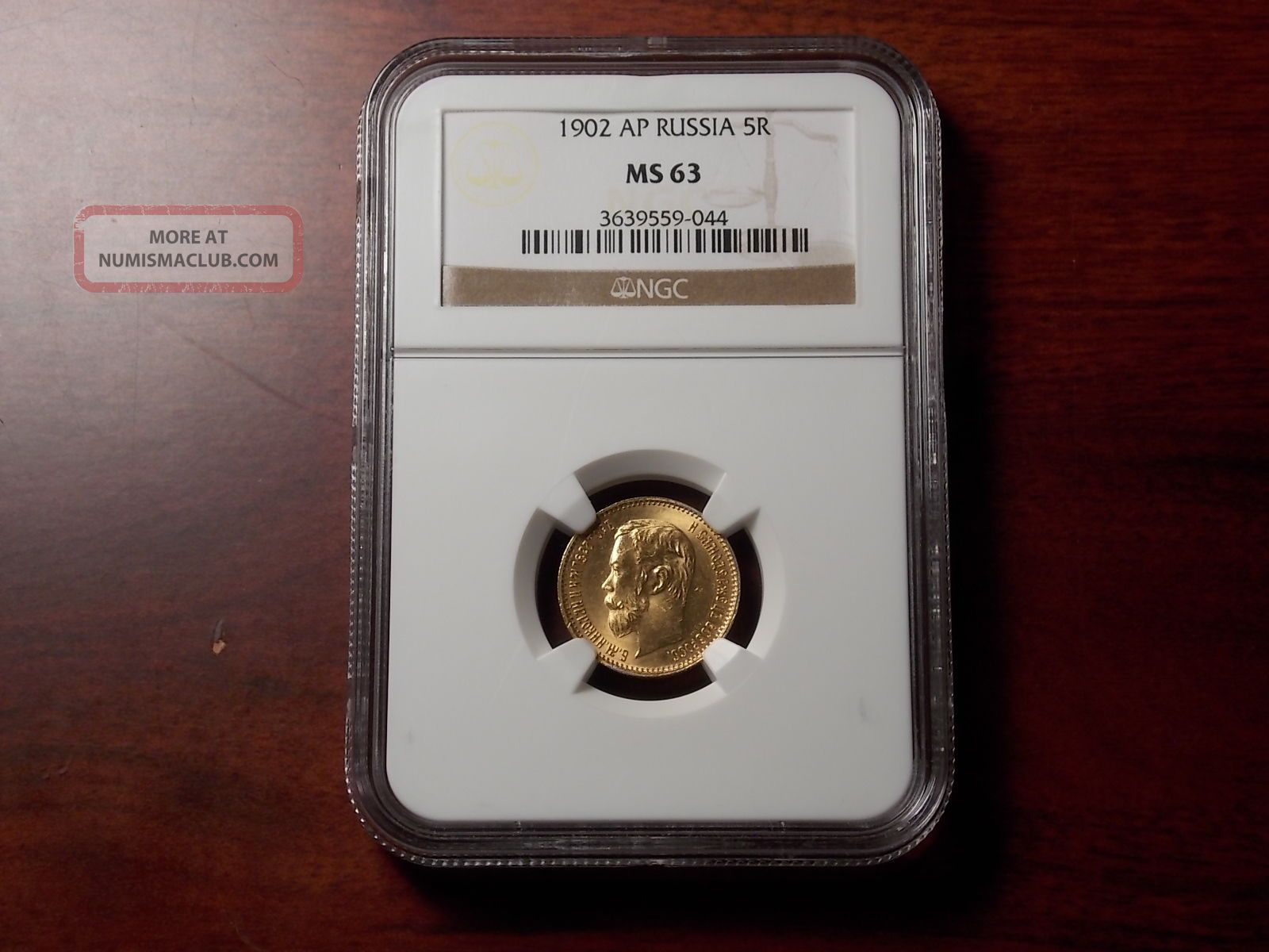 1902 Ap Russian 5 Rouble Gold Coin Ngc Ms - 63 Russia photo