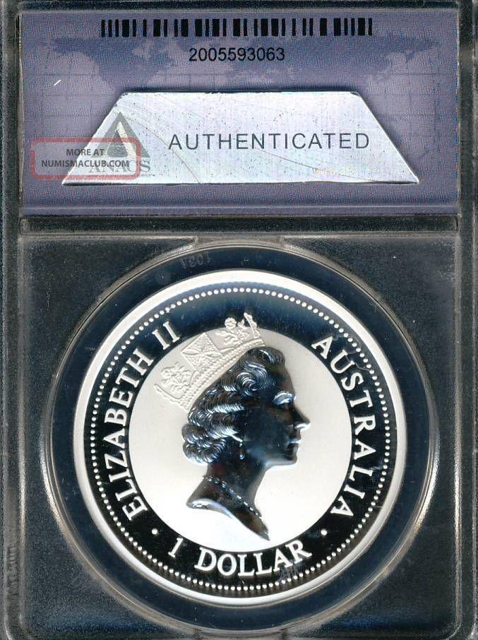 Australia Kookaburra 1996 Certified Anacs Ms70 Dcam Silver