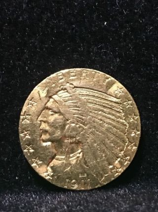 1911 Us $5 Indian Head Gold Coin photo