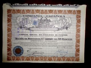 Minas Del Rif,  Share Certificate 1946 Spain Vg, photo