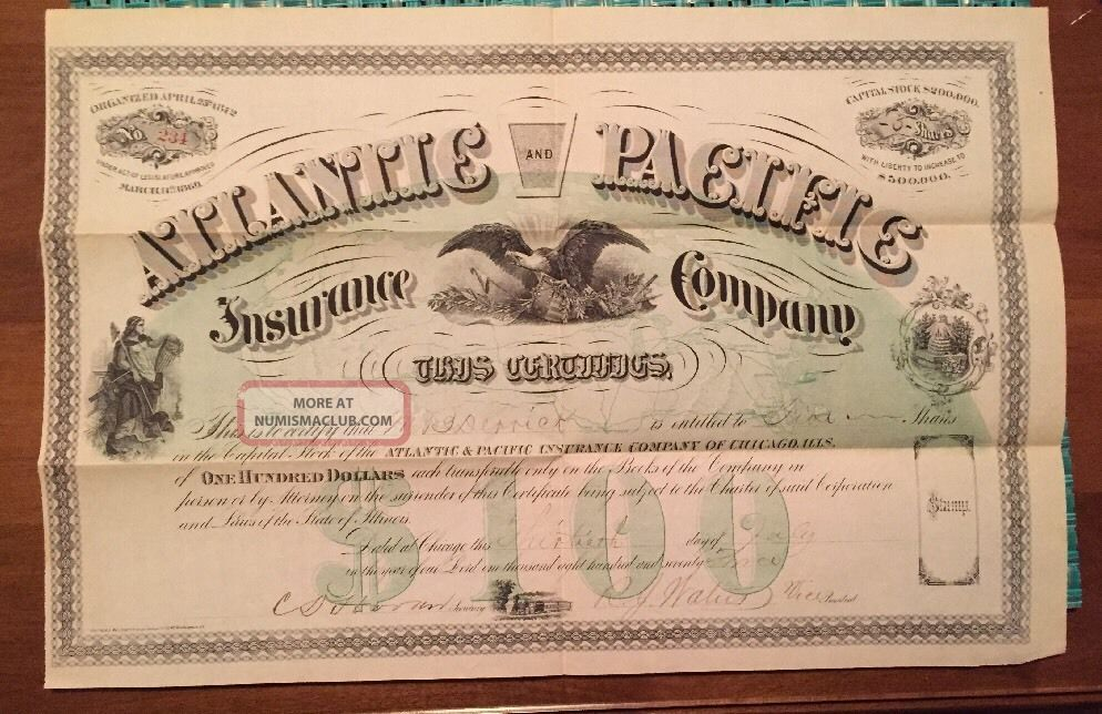 Vintage 1873 Stock Certificate Atlantic And Pacific Ins.  Company Of Chicago Stocks & Bonds, Scripophily photo