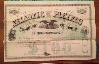 Vintage 1873 Stock Certificate Atlantic And Pacific Ins.  Company Of Chicago photo