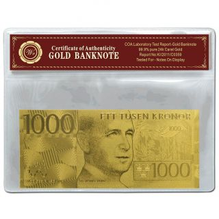 24k Gold Sweden Banknote 1000 Kronor 99 Pure Gold Note Uncirculated In Frame photo