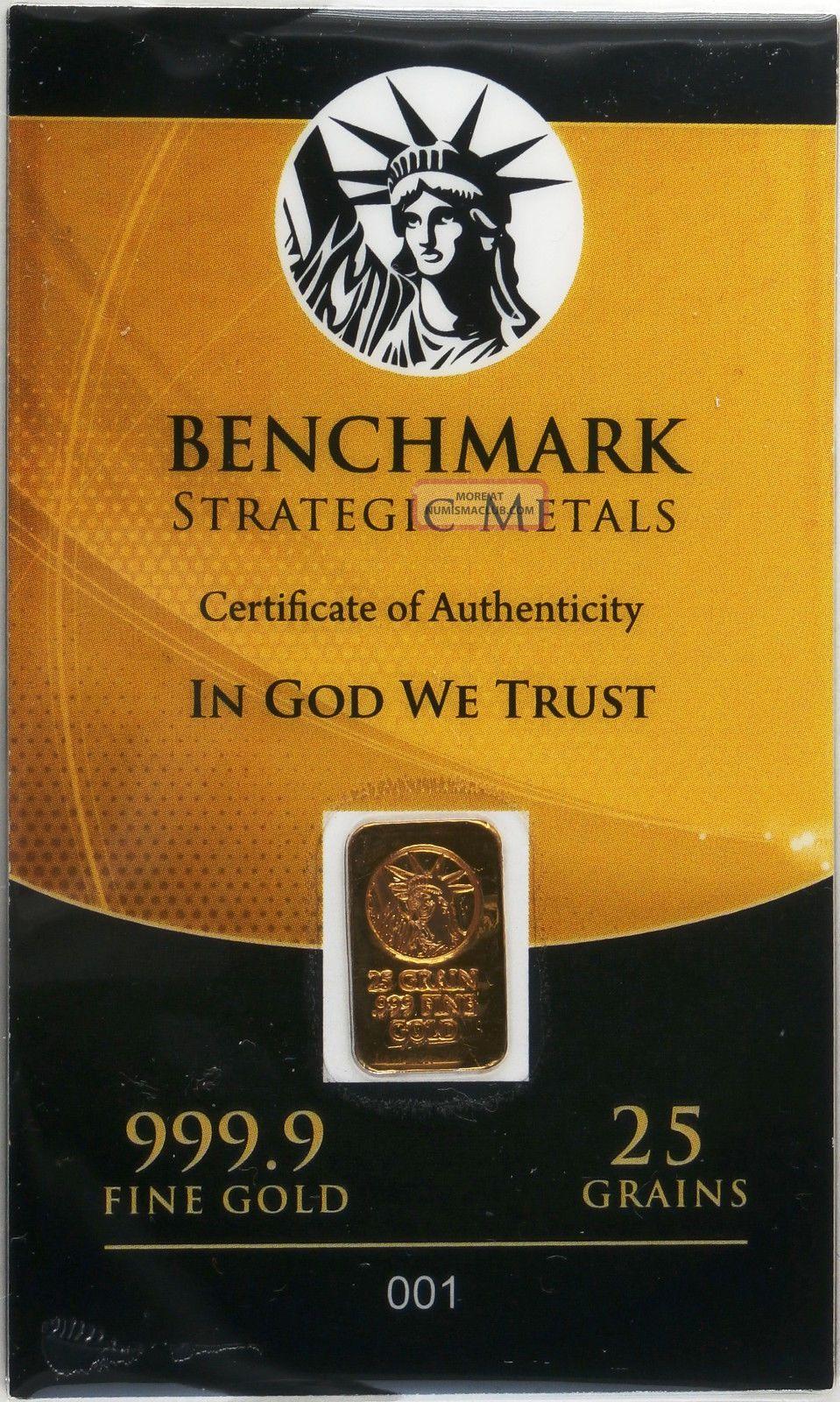 Gold 25 Grain 24k Pure Gold Bullion Bar 999 Fine Pure Gold Huge Heavy Bar E6c