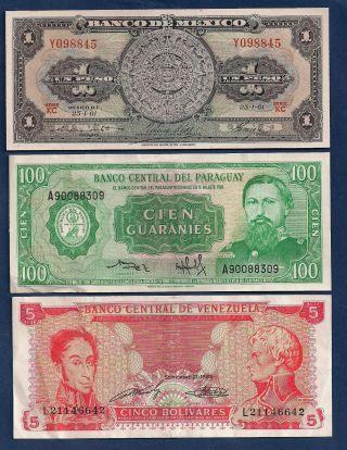 Mexico 1 Peso 1961 P - 59g,  Paraguay 100 Guaranies,  Venezuela 5 Bolivares photo
