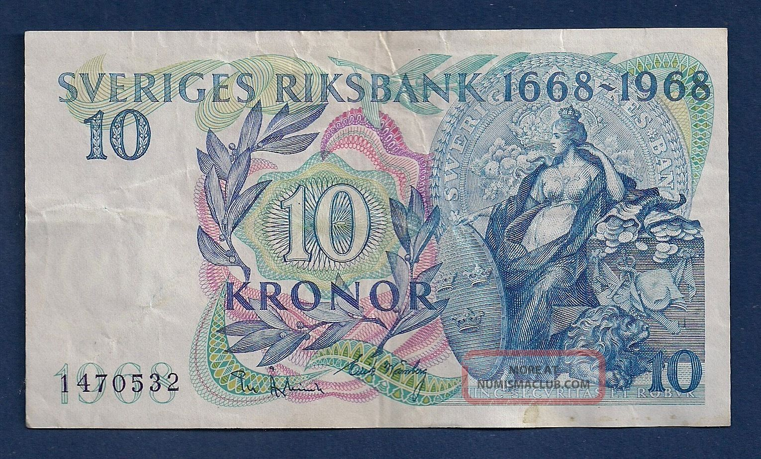 Sweden 10 Kronor 1968 P - 56 Svea Standing Commemorative Issue Europe photo