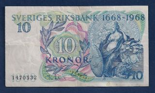 Sweden 10 Kronor 1968 P - 56 Svea Standing Commemorative Issue photo