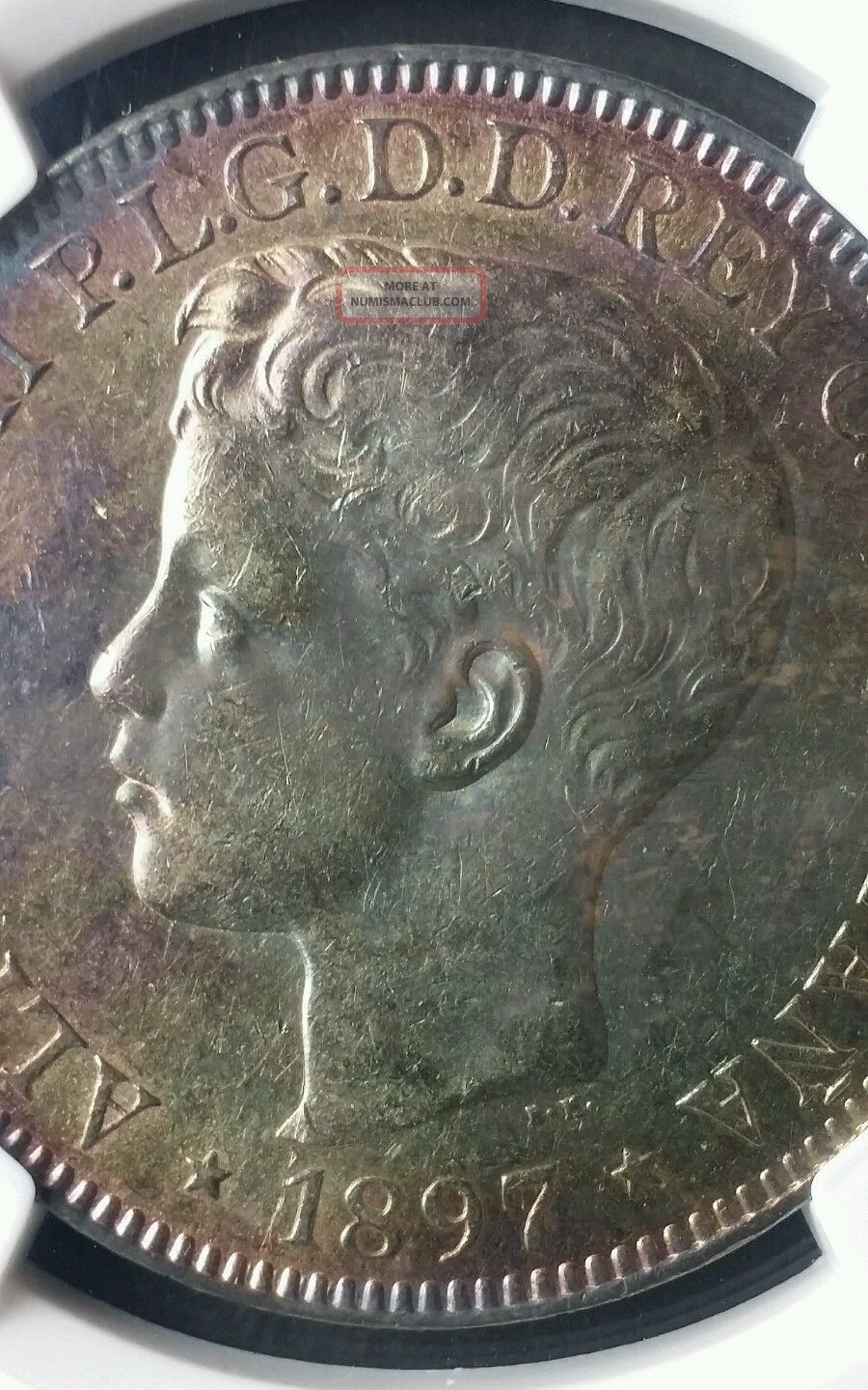 1897 Philippine Silver Peso Ngc Au Details Surface Hairlines